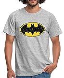 DC Comics Batman Logo Used Look Männer T-Shirt, L, Grau meliert