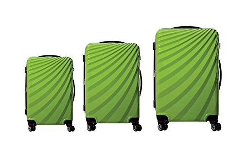 Luxus 3 TEILIGES TSA Kofferset VIVIANA Koffer Trolley HARTSCHALE POLYCARBONAT ABS GESCHÜTZES Design (Grün)