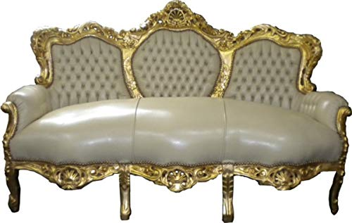 Barock Sofa Garnitur Creme Lederoptik/Gold