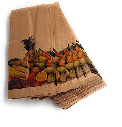 Sacchetti di carta kraft antiumidità per frutta e verdura, 14 x 29 cm, confezione da 100 (legati)