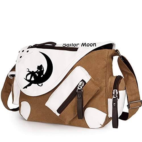 GO2COSY Anime Messenger Bag Handtasche Crossbody Tote Bag Student Bag Schultertasche für Sailor Moon Cosplay (braun 1)
