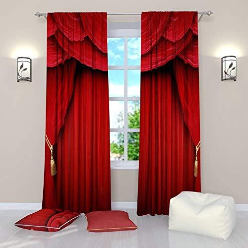YZDAJIBA® Decoración de imagen de cortina opaca 3D Cortina roja, cortina de teatro escena de teatro rojo 200*214 CM Cortinas con ojales grises súper suaves para dormitorio, paneles reductores de ruido