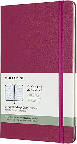 Moleskine 12 Mesi 2020 Agenda Settimanale, Copertina Rigida e Chiusura ad Elastico, Colore Rosa Brillante, Dimensione Large 13 x 21 cm, 144 Pagine