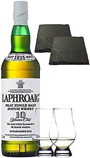 Laphroaig 10 Jahre Islay Single Malt Whisky 0,7 Liter  2 Glencairn Gläser  2 Schieferuntersetzer quadratisch ca. 9,5 cm