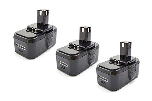 vhbw 3x NiMH batterie 1300mAh (18V) pour outil électrique outil Powertools Tools Ryobi CRH1801, CRO-180M, CRP-1801, CRP-1801/DM, CRP-1801D, CRS-180L