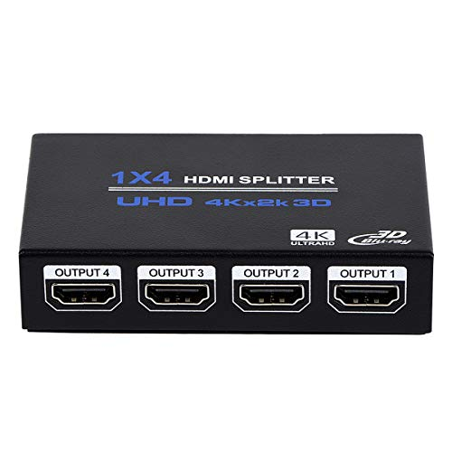 1x4 HDMI Splitter, 1 in 4 Out HDMI Splitter Audio Video Distributor Box Support 3D & 4K x 2K Compatible for HDTV, STB, DVD, PS3, Projector Etc