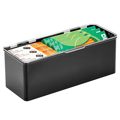 mDesign Plastic Stackable Home, Office Supplies Storage Organizer Box with Attached Hinged Lid - Holder Bin for Note Pads, Gel Pens, Staples, Dry Erase Markers - Black/Clear