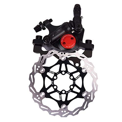 LuckyMAO Bicycle Brakes MTB Road Bike Line Pulling Hydraulic Disc Brake Calipers Front Rear Mountain Bike Bicycle Oil Disc Brake with Brake Rotor (Color : Rotor R Brake Black)