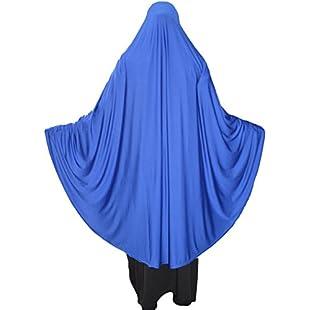 XL Khimar one piece ready made Hijab stretchy Lycra material (Blue):Hashflur