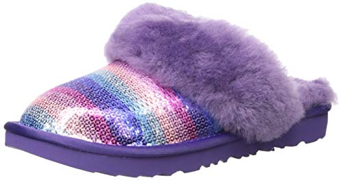 UGG Girls' Cozy II Slipper, Violet Rainbow, 5 M US Big Kid