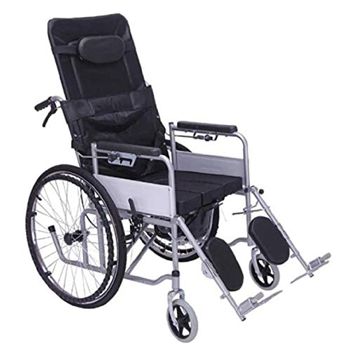 NOLLY Multifunktionsrollstuhl, Faltrollstuhl Mit Fußstütze Und Armlehnen,Toilettensitz Für Ältere Und Behinderte, Pflegerollstuhl Mit Liegefunktion