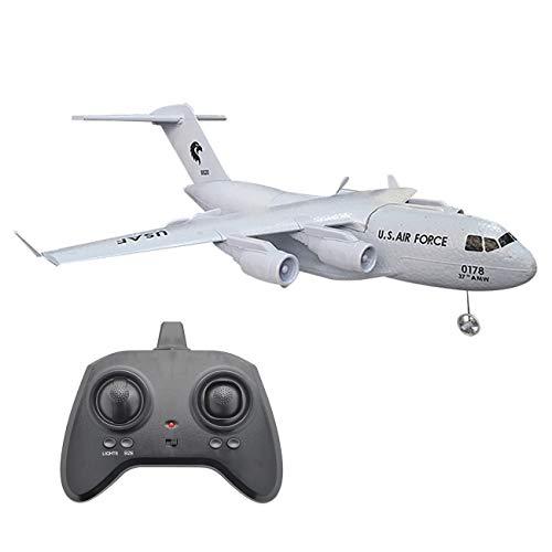 TANSTAN Avión teledirigido C-17 RC listo para volar, 2.4 Ghz, avión teledirigido construido en giroscopio de 3 ejes de poliestireno duradero para niños y jóvenes
