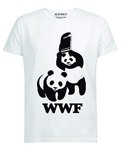 Print LTD WWF Panda Wrestling Save The Panda Funny White T-Shirt