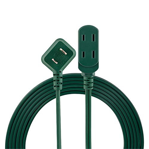 Philips 3 Outlet Extension Cord, 15 Ft Long Cord, Polarized Outlets, Flat Plug, Perfect for Holiday Lights & Décor in The Home or Office, Green, SPS1032GE/27