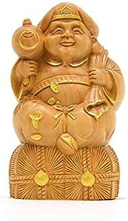 海宇工芸(kaiu art) 小仏-七福神之【大黒天】 柘植 金泥仕様 高さ8.1㎝ 木彫り仏像