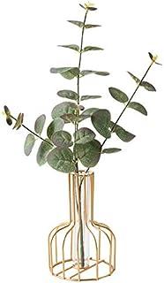 Nordic Simple Golden Glass Vase Iron Art Vase Hydroponic Plant Flower Vase Glass Test Tube Metal Plant Holder Modern Home ...