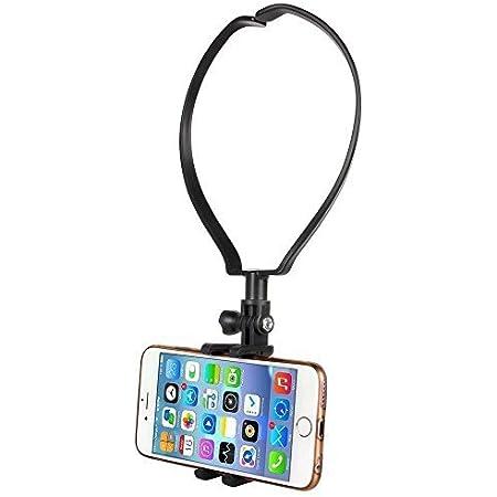 新型自撮り棒 スマホホルダー 首に掛ける 携帯電話ホルダー スマートフォンホルダー ビデオ録画用 伸縮自在 折り畳み式 軽便ポータブル iPhone/Androidの大部分のスマホに対応可能
