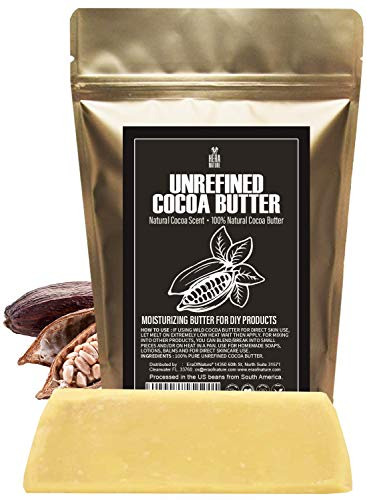 Raw NATURAL COCOA (CACAO) BUTTER BLOCK Best Quality Rich Natural Chocolate Aroma For Lip Balms, Stretch Marks, DIY Base for Body Butter & Soap Making (USA) - 8 oz