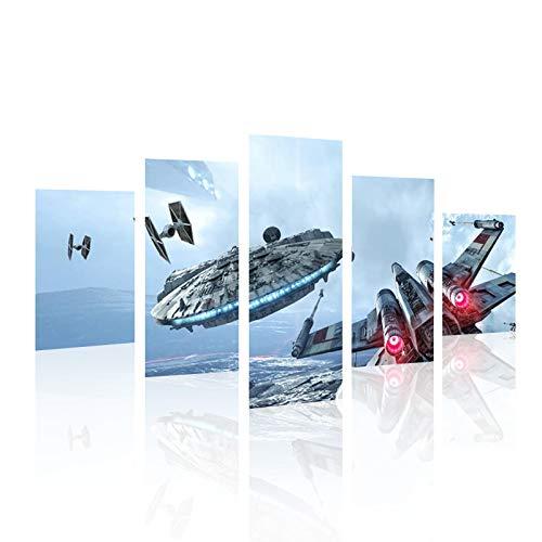 HCOZY h. COZY5Piece Millennium Falcon x Wings stampa artistica su tela Star Wars poster decorativo (senza telaio) senza cornice sku-max28127x 76,2cm