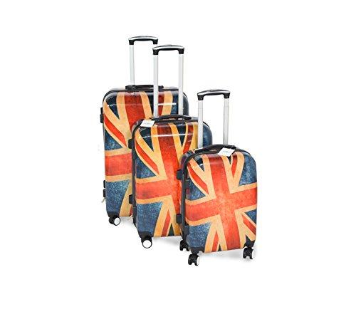 Suitcase Union Jack Light 4 Wheel Spinner Hard Shell Luggage Trolley Cabin Case - 20' 24' 28' (Complete Set, Union Jack)