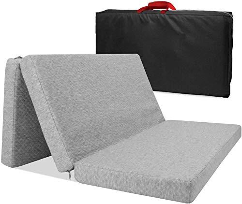 "Kashan Folding Mattress, Tri-Fold Mattress Pad with Storage Bag Portable Sleeping Mat 38.5"" x 26"" x 1.8"" Foldable Mattress Nap Mat for Toddlers Infants Kids"