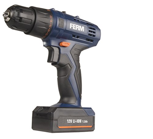 Ferm Cordless 12v Li-Ion Drill with 1.5Ah Quick Charge Battery Screwdriver Torque DIY Workshop