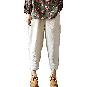 Women's Linen Cropped Pants  Ankle Capri Trousers