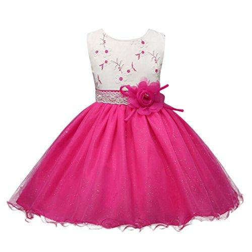 Kobay Kinder Baby Mädchen Blumen Geburtstag Hochzeit Brautjungfer-Festzug Prinzessin Abendkleid (110/4-5Jahr, Rosa-1)