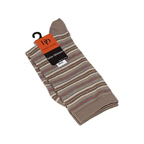 Dore Dore Socke mittelhoch - 1 paar - verstärkte Ferse - Verstarkte zehen - Flachnaht - ohne Frotte - Gestreifte - Fine - Laine - Beige - DD - 36/41