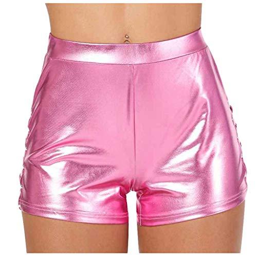 TWIFER Damen Sport Gym Hot Pants Metallic Shorts Shiny Leggings Karneval Mittlere Taille Kurze Hose