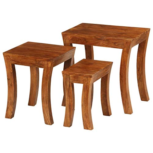 vidaXL 3X Table Gigogne Bois Massif d'Acacia Marron Ensemble de Table Basse