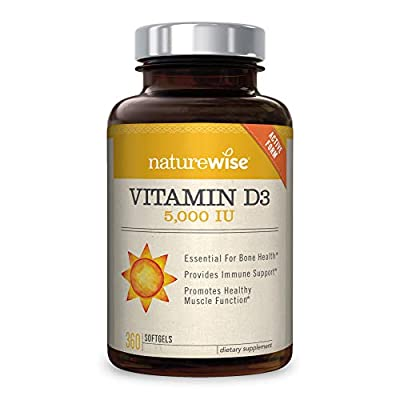 NatureWise Vitamin D3 5,000 IU for Healthy Muscle Function, Bone Health, & Immune Support   Non-GMO in Cold-Pressed Organic Olive Oil & Gluten-Free (Packaging May Vary) [1Year Supply - 360 Count]