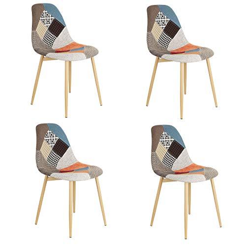 Un juego de cuatro sillas de comedor de tela de retazos y lino de estilo moderno con patas de hierro antioxidante para comedor, sala de estar, oficina, sala de estar, cafetería (multicolor)