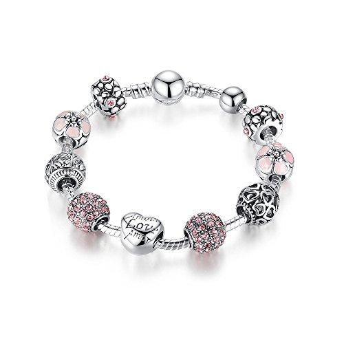 Sissi-Jewelry Bracciale con Charms 925 Placcato A Forma di Cuore Bracciale Fai da Te