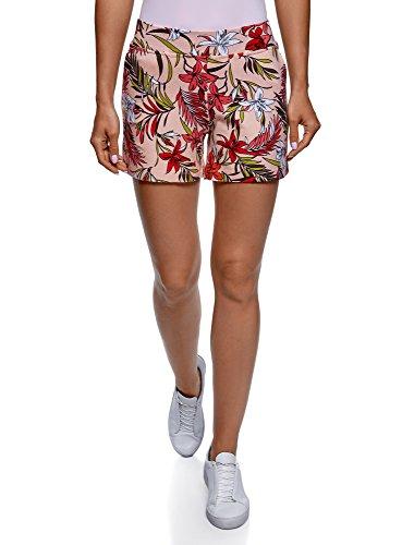 oodji Ultra Damen Bedruckte Baumwoll-Shorts, Rosa, Herstellergröße DE 32 / EU 34 / XXS