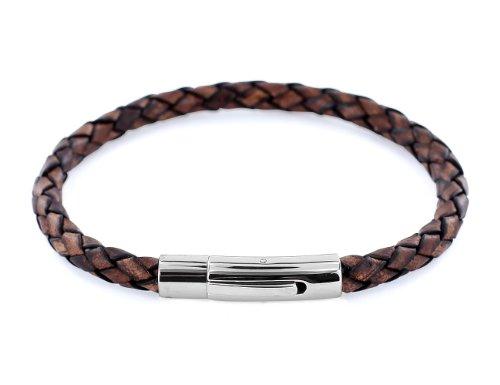 AURORIS Echtleder-Armband geflochten 5mm mit Hebeldruckverschluss aus Edelstahl - Länge: 17cm / Farbe: antik-braun