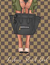 Fashion Sketch Book: Trendy Check Bag Design Female Figure Template To Create Your Own Designs with Face Charts Stylish  Look book Gift For Fashion and Makeup Lovers 120 Page 8.5