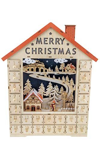 Clever Creations - Calendario de Adviento - Madera y Luces LED - Funciona con Pilas - Decoración Tradicional con Forma de Pueblo en Navidad - 04 - Forma de casa