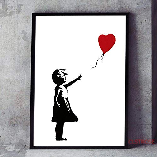 Street art graffiti canvas prints meisje met ballonnen poster wanddecoratie schilderij foto voor woonkamer woondecoratie 60x80 cm (frameloze)