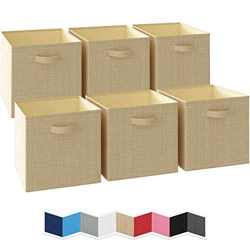 NEATERIZE Ordnungsbox 33x33x33-6 Boxen Aufbewahrung Set | Faltboxen Mit Zwei Tragegriffen | Faltbare Kallax Boxen | Extra Stabile Stoffbox Als Kallax Einsatz | Kisten Aufbewahrung [Beige]