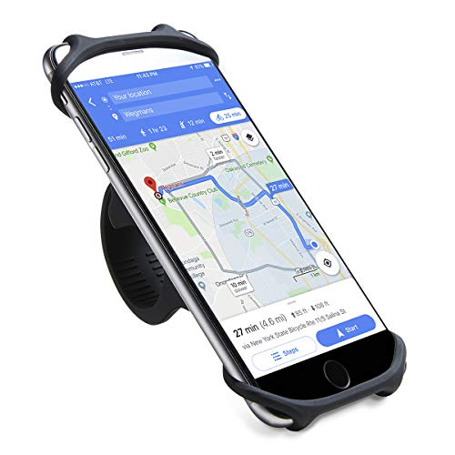 CYCLEPARTNER Bike Phone Holder,Non-Slip Shockproof German Silicone Mobile Smart phone Bike Phone Mount for 4'-7' SmartPhones,Compatible for iPhone X XS MAX Plus 8 7 6 5 Galaxy Note Bike Phone Mount