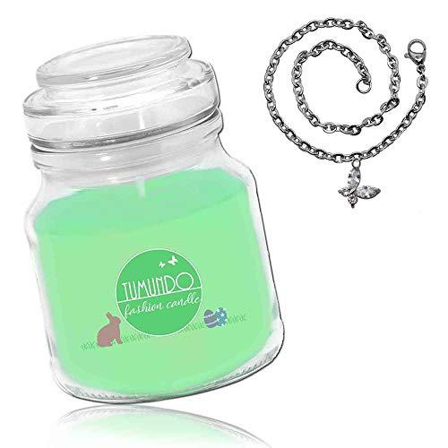 tumundo Vela Perfumada con Joyas Collar Pascua Pendientes Oreja Pendientes Rhinestone Glitter Moda Vela Regalo, Joya:Pulsera