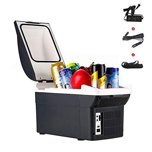 MWyanlan Tragbare Elektrische Kühlschrank Hot Cold Für Auto, 8L Auto Kühlbox, Steckdose Leichte Isolierte Kühlbox Container Camping Coolbox,12V+220V- 12v+220v