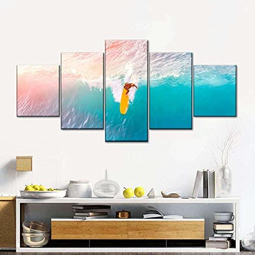 MMSY Tabla de Surf Amarilla en el mar Cuadro sobre Lienzo 5 Piezas- Modernos DecoracióN de Pared Hogar Arte De Cartel Marco