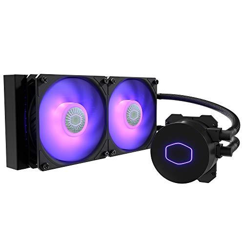 Cooler Master MasterLiquid ML240L V2 RGB Refrigeración a Liquido, Efectos Iluminación Brillantes, Bomba 3a Generación, Radiador Superior y Doble Ventilador SickleFlow 120 mm, Color Negro