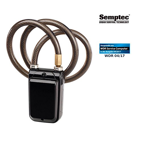 Semptec Urban Survival Technology Fahrradalarm: App-gesteuertes Kabelschloss, Bluetooth, Alarm für Fahrrad, Tür u.v.m. (Fahrrad Alarmanlage Bluetooth)