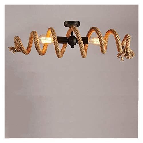 Colgante de luz Lámpara de techo de cuerda de cá?amo retro lámpara de techo industrial antigua retro lámpara de cuerda lámpara de metal ático restaurante bar tienda lámpara de sala de estar 2 bombilla