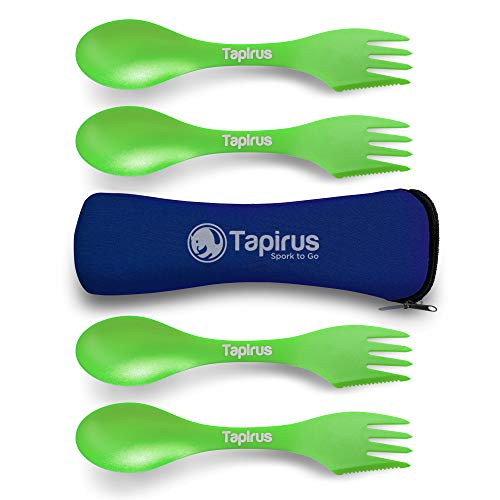 Tapirus 4 Green Spork to Go Set - Durable and BPA Free Sporks - Spoon, Fork and Knife Combo Utensils Flatware - Mess Kit for Camping, Hunting and Outdoor Activities - Comes in a Carrying Case