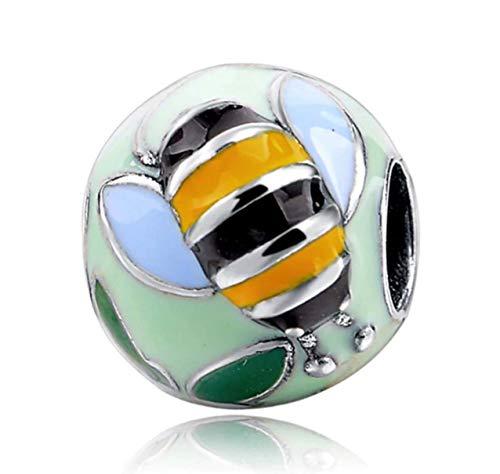 Bolenvi Abalorio de plata de ley 925 esmaltado, diseño de abeja y flores para pulseras o collares similares