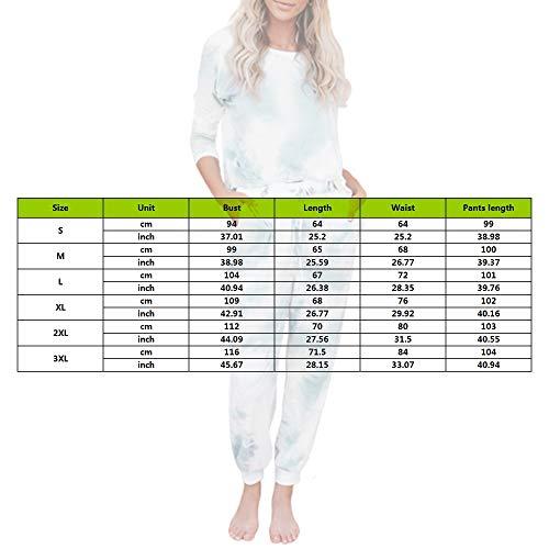 MoneRffi Women 2 Piece Tie Dye Sweatsuit Set Long Sleeve Pullover and Drawstring Sweatpants Sets Pajamas Set Joggers Loungewear